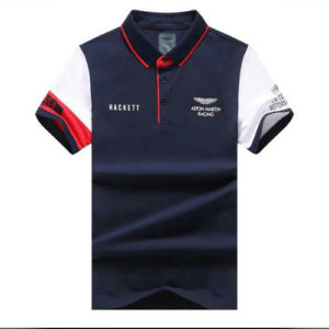 Aston Martin Racing Hackett Polo Yellow-Navy Blue