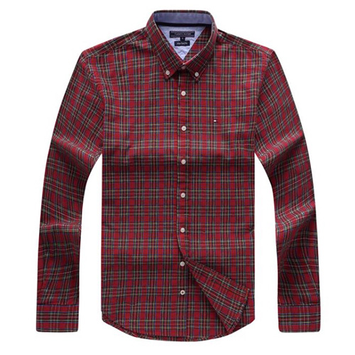 Tommy Hilfiger Plaid Oxford Shirt- Red