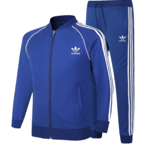adidas stripe tracksuit blue