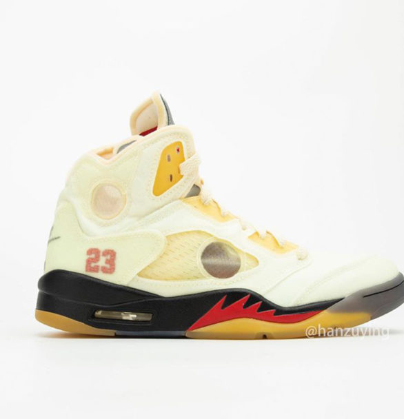 """Detailed Images of the Second Off-White x Air Jordan 5 """"Sail"""""""
