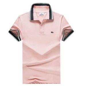 Lacoste polo stripe pink
