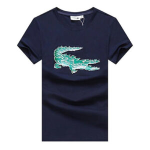 lacoste printed t-shirt blue