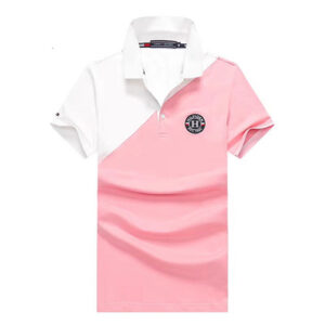 tommy white pink polo