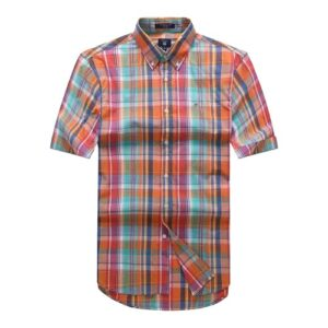 Gant Red Checkered Oxford Short Sleeve Shirt